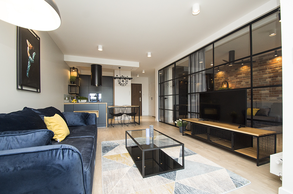 Apartment with a glass wall