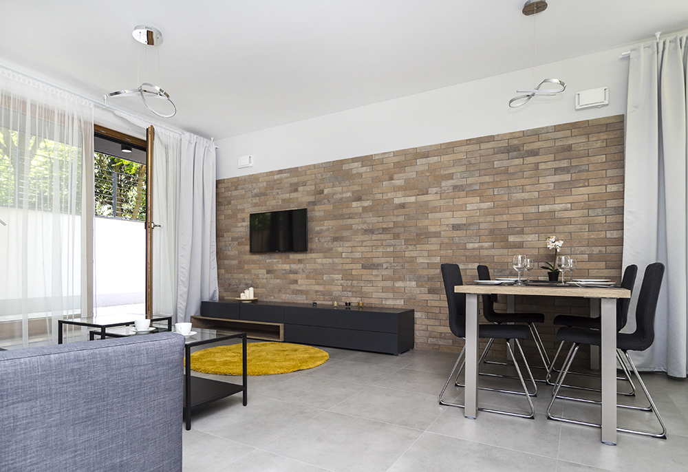 Two-room apartment with brick