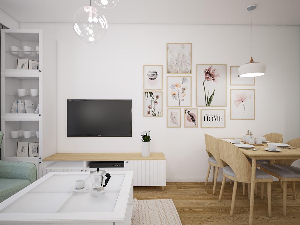 Apartment with pastel accents