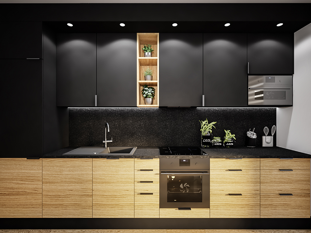Living room with a black kitchen